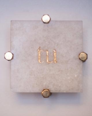 marmo, foglia d'oro, ottone e legno per i supporti 5x20 cm installata